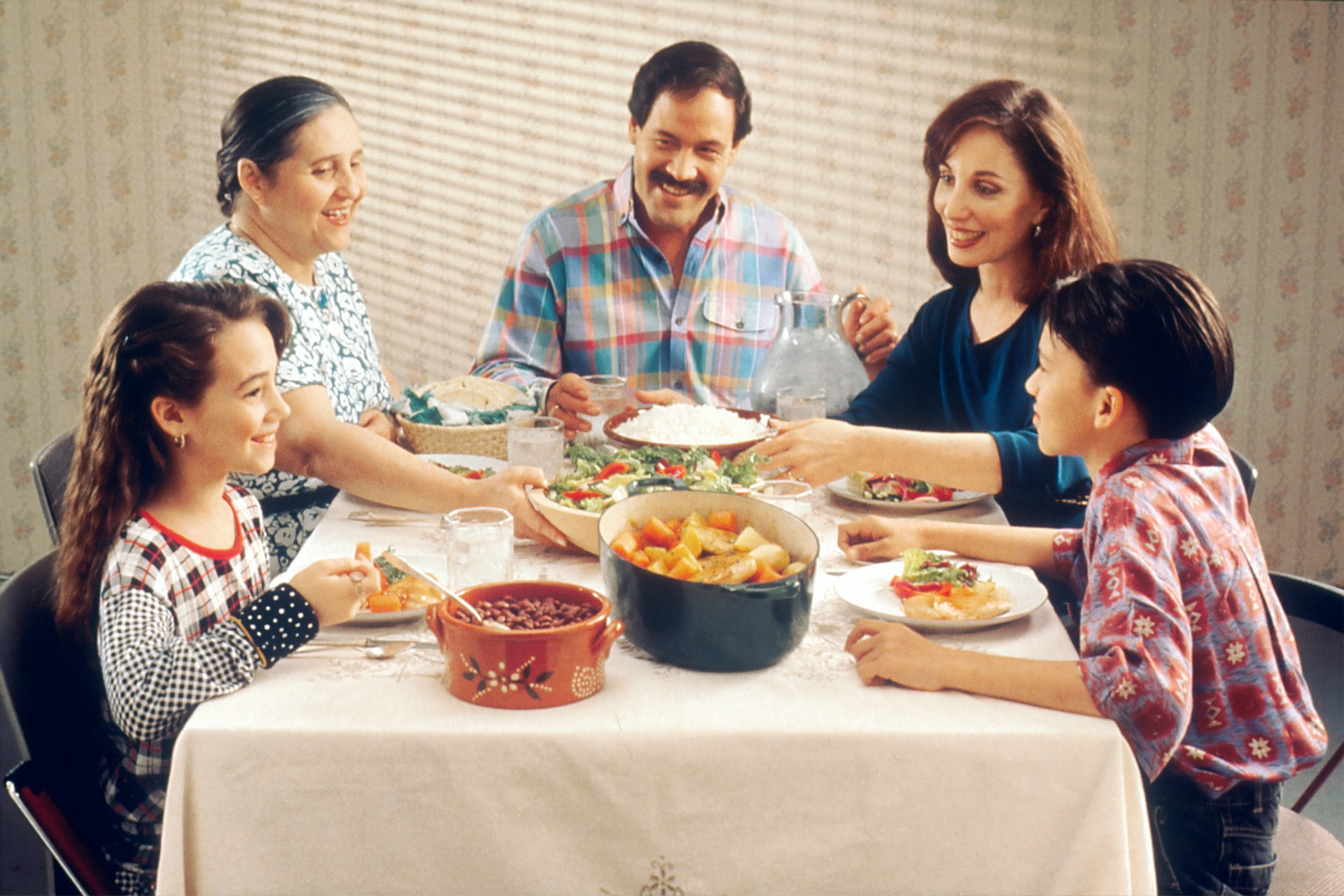 Family eating indoors